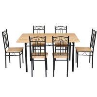 Juego de comedor en caño con 6 sillas color Haya al mejor precio solo en loi