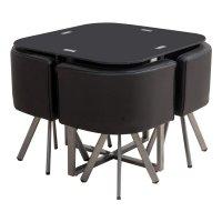 Juego de comedor en metal y vidrio con 4 sillas Negro al mejor precio solo en loi