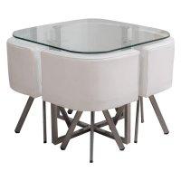 Juego de comedor en metal y vidrio con 4 sillas Blanco al mejor precio solo en loi
