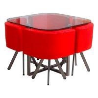 Juego de comedor en metal y vidrio con 4 sillas Rojo al mejor precio solo en loi