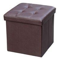 Puff Baúl Plegable en Símil Cuero - Chocolate al mejor precio solo en LOI