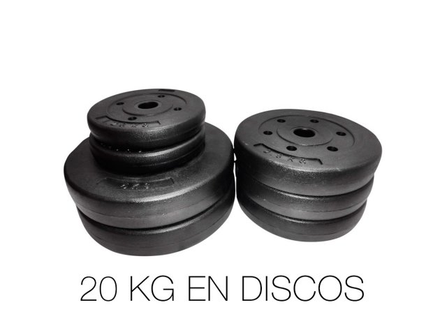Set de Pesas y Mancuernas con 20Kg en discos