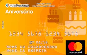 Cartão Pré-Pago Vale Presente Aniversário Mastercard