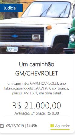 11389 - UM caminhão GM/CHEVROLET 05/12/2019