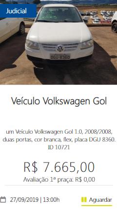 Veículo Volkswagen Gol