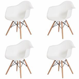 Kit 4 Cadeiras Charles Eames Eiffel Com Braço Branca Base Madeira