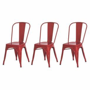 Kit 3 Cadeiras Tolix Iron Industrial Vermelha