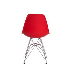 Cadeira de Jantar Eiffel Eames Vermelha Base Cromada