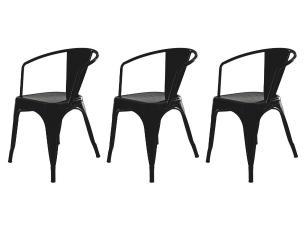Kit 3 Cadeiras Tolix Iron Industrial Preta Com Braço