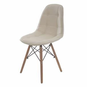 Kit 2 Cadeiras Charles Eames Botone Creme Base Madeira