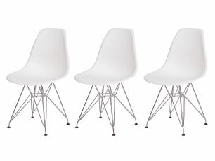 Kit 3 Cadeiras Eiffel Eames Branca Base Cromada