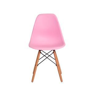 Kit 4 Cadeiras Charles Eames Eiffel Rosa Claro Base Madeira