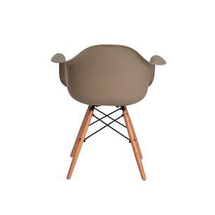 Kit 4 Cadeiras Charles Eames Eiffel Com Braço Nude Base Madeira
