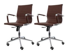 Kit 2 Cadeiras De Escritório Charles Eames Eiffel Marrom
