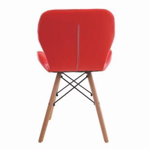 Cadeira Charles Eames Slim Base Madeira Vermelha
