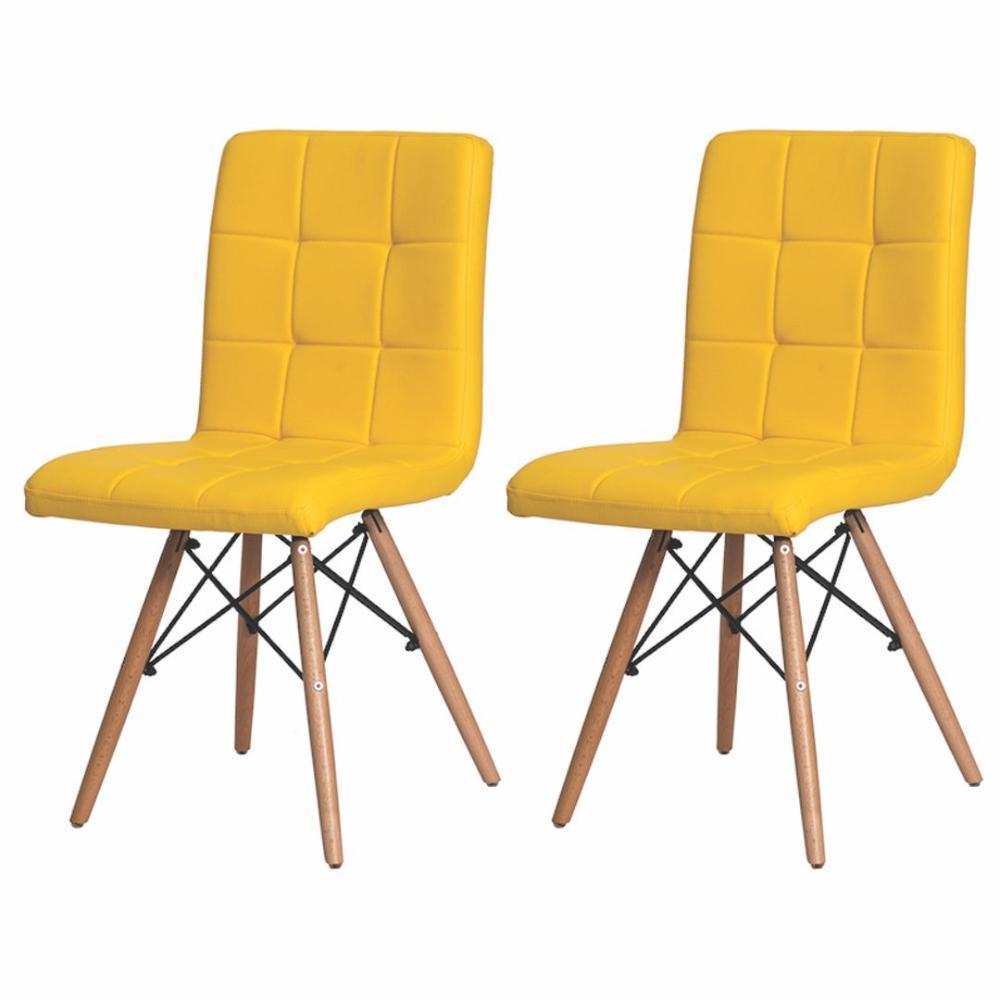 Kit 2 Cadeiras Charles Eames Gomos Amarela