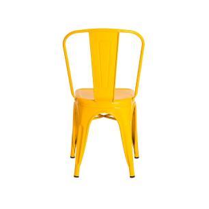 Kit 3 Cadeiras Tolix Ferro com Encosto Iron Industrial Sala Cozinha Bistrô Cor Amarela