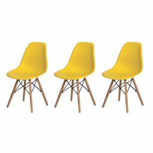 Kit de 3 Cadeiras Eiffel Eames DSW Amarelo Base Madeira
