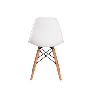 Kit 2 Cadeiras Charles Eames Eiffel Branco Base Madeira