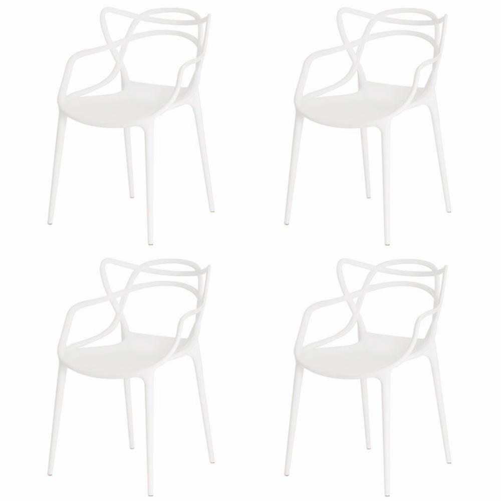 Kit 4 Cadeiras Para Mesa De Jantar Sala Cozinha Escrivaninha Allegra Master Branca