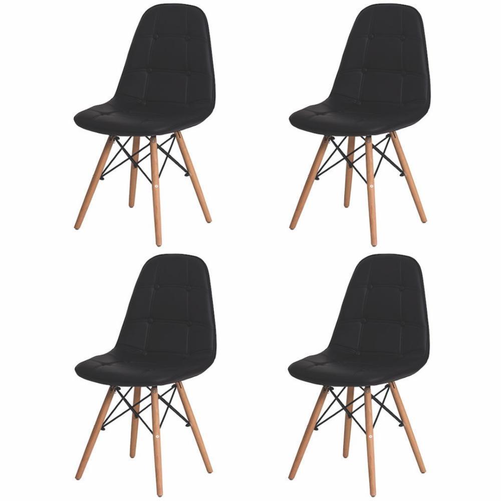 Kit 4 Cadeiras Charles Eames Eiffel Botone Preta
