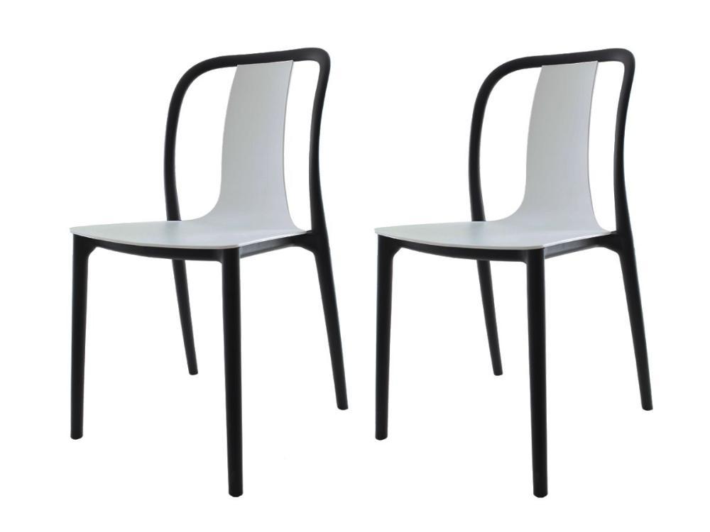 Kit 2 Cadeira Belle Branca Empilhável