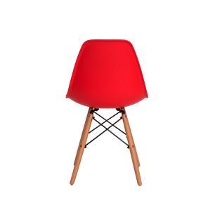 Kit 2 Cadeiras Charles Eames Eiffel Vermelha Base Madeira