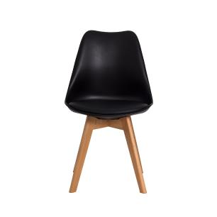 Cadeira Para Mesa De Jantar Sala Cozinha Escrivaninha Saarinen Design Leda Preta