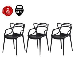 Kit De 3 Cadeiras Allegra Vermelha Empilhável Sala De Jantar