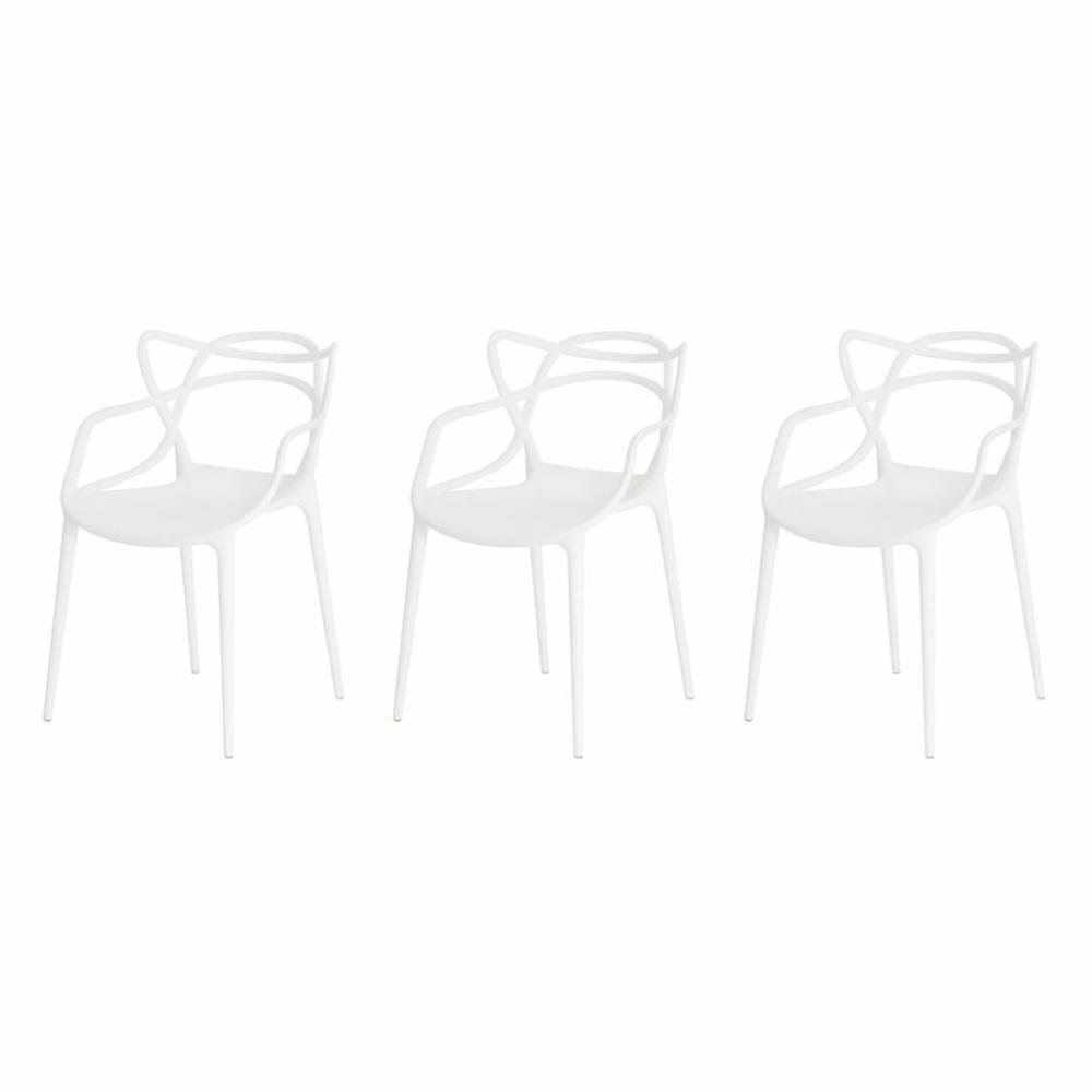 Kit de 3 Cadeiras Allegra Branca
