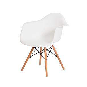 Cadeira de Jantar Eiffel Eames DAW c/Braço Branca Base Madeira