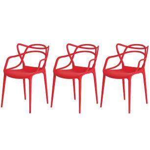 Kit de 3 Cadeiras Allegra Vermelha