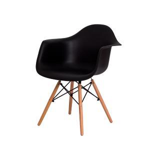Cadeira De Jantar Charles Eiffel Eames Com Braço Preta Base Madeira