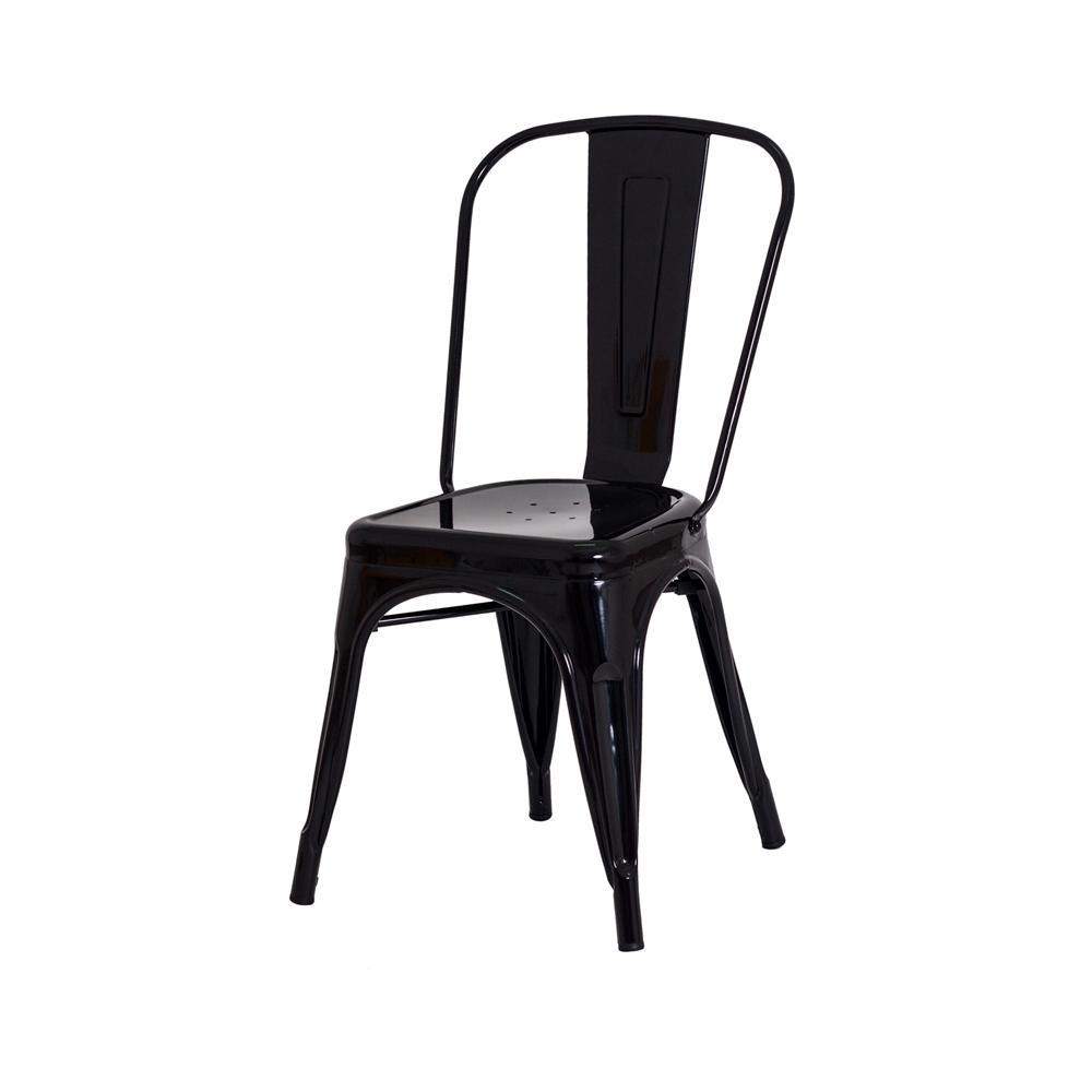 Kit 4 Cadeiras Para Mesa De Jantar Cozinha Sala Escrivaninha Tolix Iron Industrial Preta