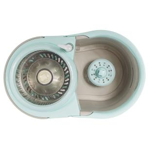 Balde Spin Esfregão Mop Com Centrífuga 360 Inox , Rodinhas e 2 Refis De Microfibra Mop18