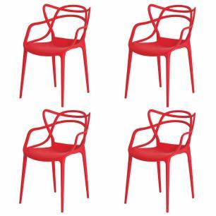 Kit de 4 Cadeiras Allegra Vermelha