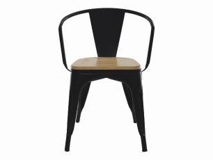 Kit 3 Cadeiras Para Mesa De Jantar Cozinha Sala Com Braço Tolix Metal Industrial Preto De Madeira