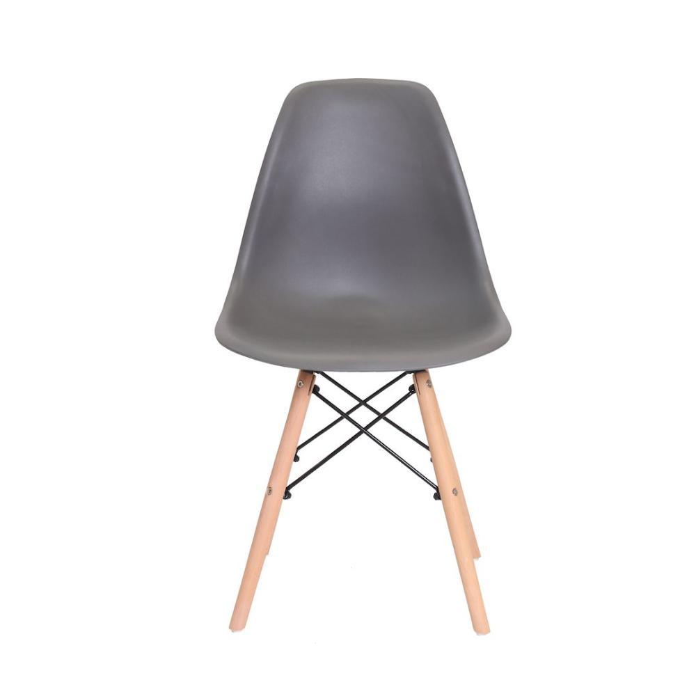 Cadeira Eiffel chumbo Cinza Escuro base madeira