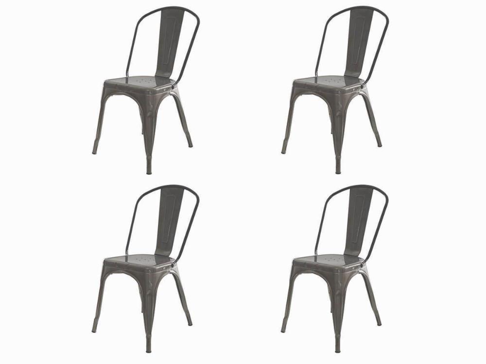 Kit 4 Cadeiras Tolix Iron Industrial Metal Envelhecida
