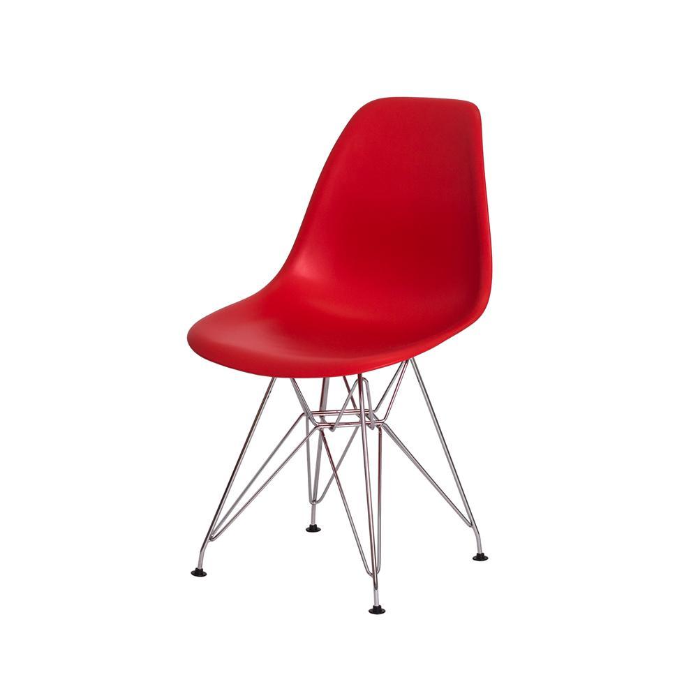 Cadeira Charles Eames Eiffel Vermelha Base Cromada