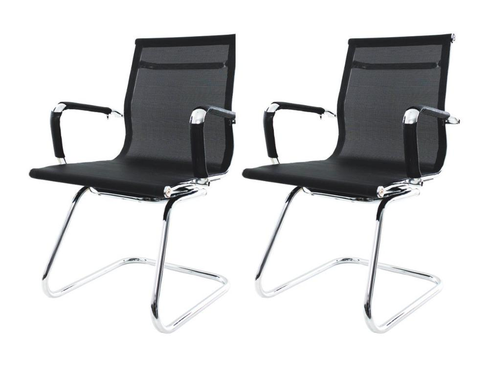 Kit 2 Cadeiras De Escritório Fixa Charles Eames Mesh Preta
