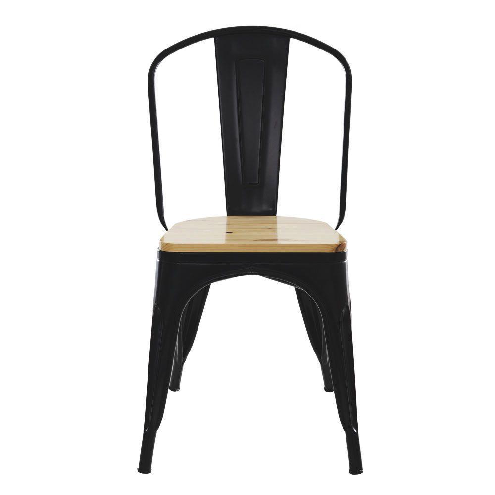 Cadeira Tolix Iron Industrial Preta Com Assento De Madeira