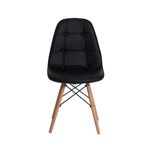 Kit 3 Cadeiras Charles Eames Eiffel Botone Base Madeira Preta
