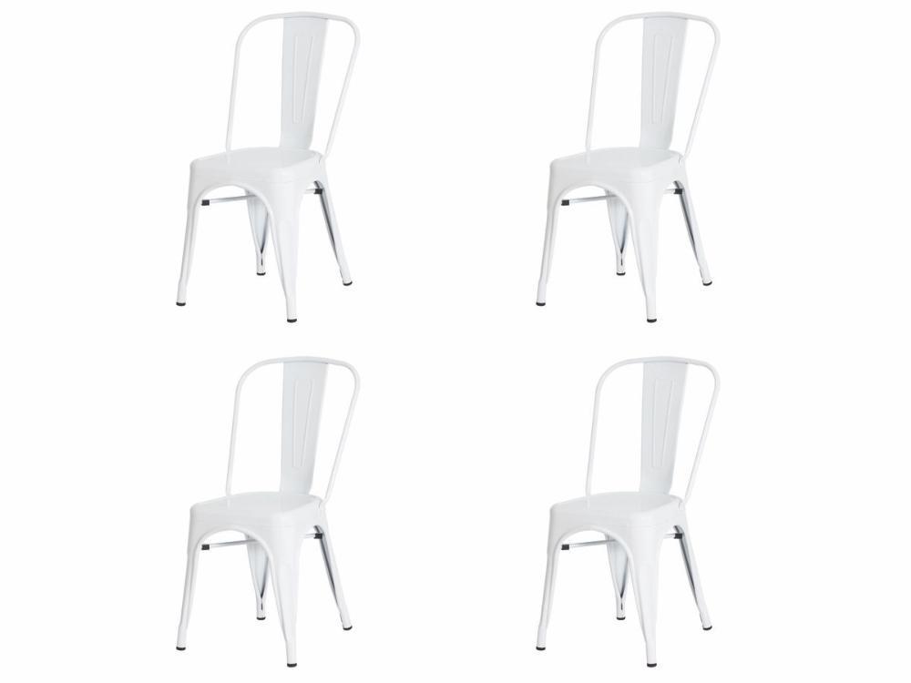 Kit 4 Cadeiras Tolix Iron Industrial Branca