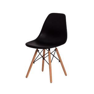 Kit 2 Cadeiras Charles Eames Eiffel Preta Base Madeira