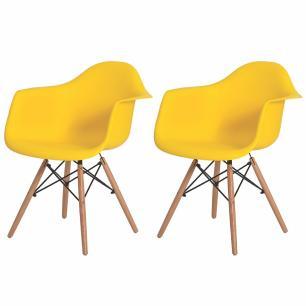 Kit 2 Cadeiras Charles Eames Eiffel Com Braço Amarela Base Madeira