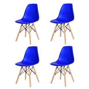 Kit 4 Cadeiras Charles Eames Eiffel Azul Bic Base Madeira