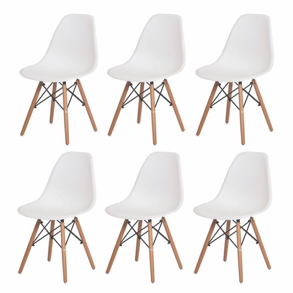 Kit 6 Cadeiras Charles Eames Eames Eiffel Branco Base Madeira