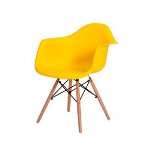 Cadeira de Jantar Eiffel Eames DAW c/Braço Amarela Base Madeira