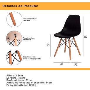 Cadeira Eiffel Dsw Eames Fendi S/Braço Base Madeira